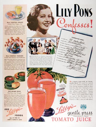 1937 Libby's Tomato Juice - Lily Pons #024230