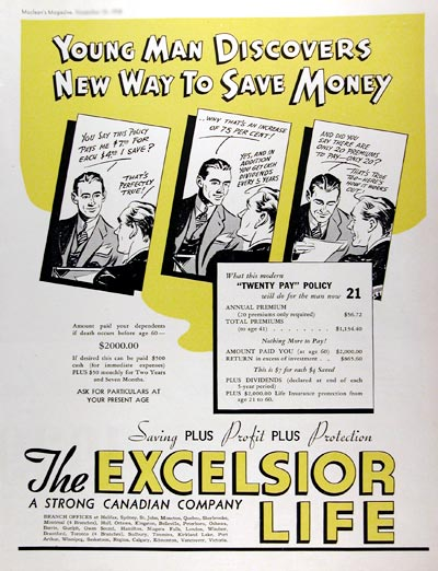 1938 Excelsior Life Insurance #017296