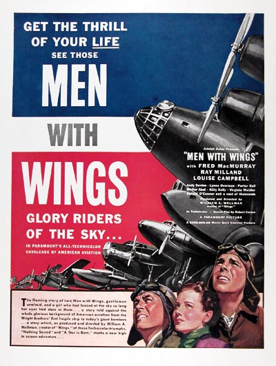 1938 Men With Wings Movie Ad #024929