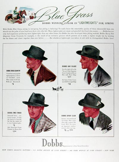 1939 Dobbs Bluegrass Hats #024319