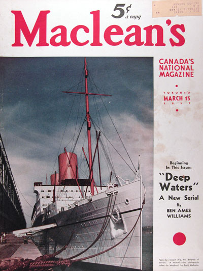 1939 Maclean's Cover ~ Empress of Britain #017352