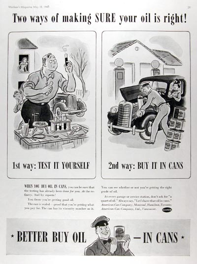 1940 Canco Motor Oil in Cans #011031