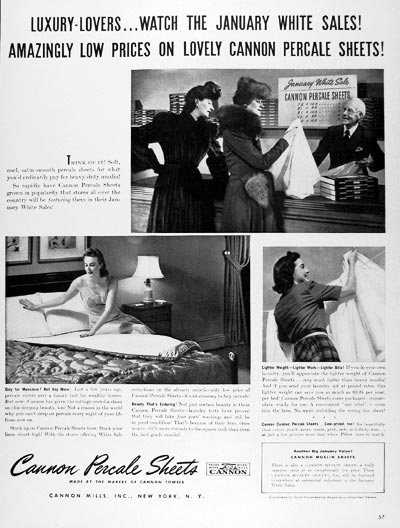 1940 Cannon Percale Sheets #024362