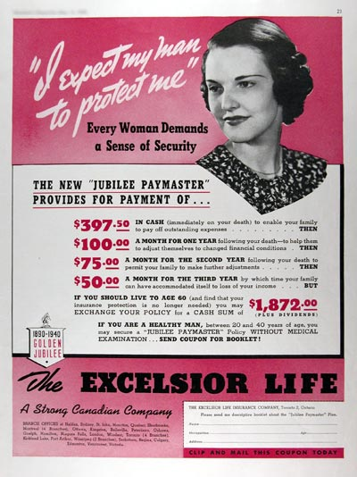 1940 Excelsior Life Insurance #011018