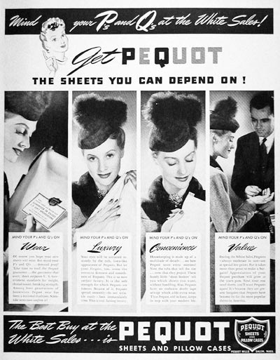 1940 Pequot Sheets & Pillow Cases #006578