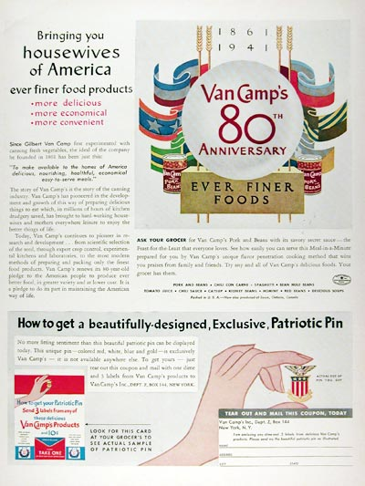 1941 Van Camp Foods 80th Anniversary #008880