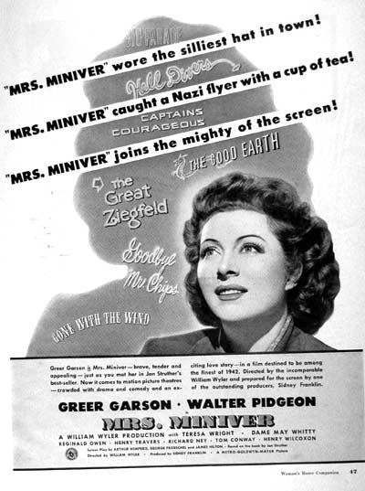 1942 Mrs. Miniver Vintage Movie Ad #002072
