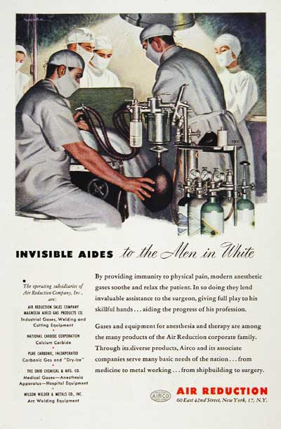 1945 Air Reduction Medical Classic Ad #003846