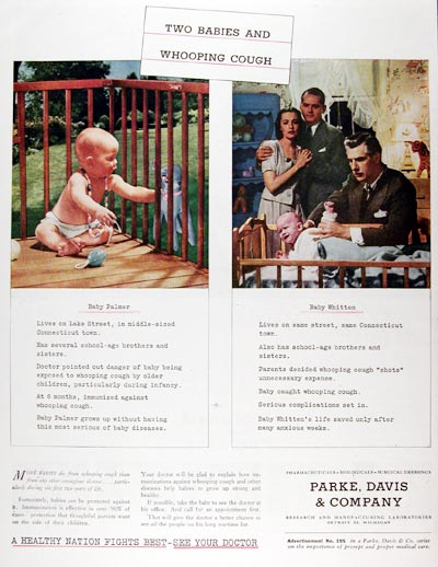 1945 Parke Davis Whooping Cough #009716