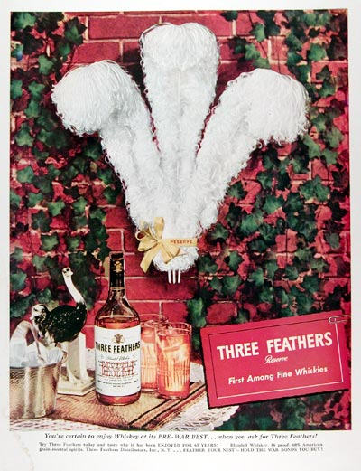 1945 Three Feathers Reserve Whiskey #009664