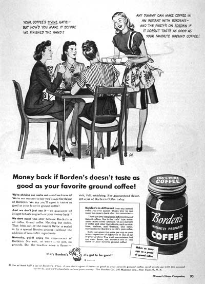 1946 Borden's Coffee Vintage Ad #002033