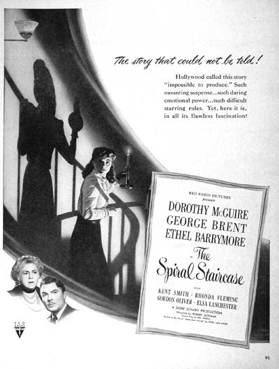 1946 The Spiral Staircase Vintage Ad #002015