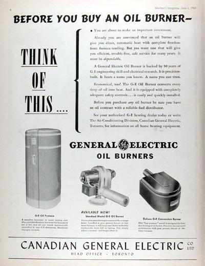 1947 General Electric Oil Burners #010884