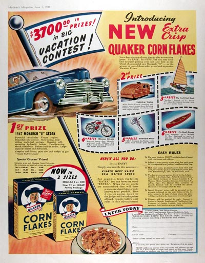 1947 Quaker Corn Flakes #010896
