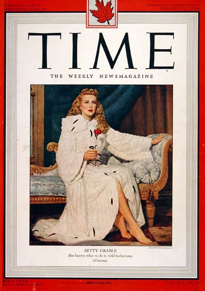1949 Time Cover - Betty Grable #004348