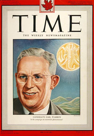 1948 Time Magazine Cover - Earl Warren
