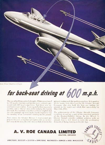 1949 A.V. Roe Gloster Meteor Classic Ad #001408