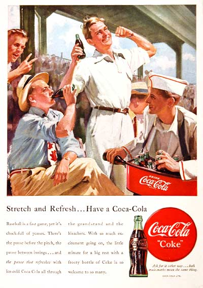 1949 Coca Cola 7th Inning Stretch Classic Ad