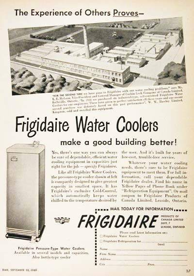1949 Frigidaire Water Cooler Vintage Ad #001421