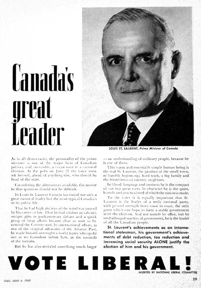 1949 Liberal Party Vintage Ad #001565