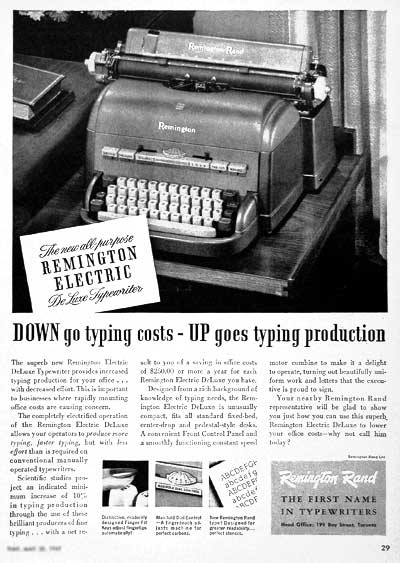 1949 Remington Rand Vintage Ad #001567