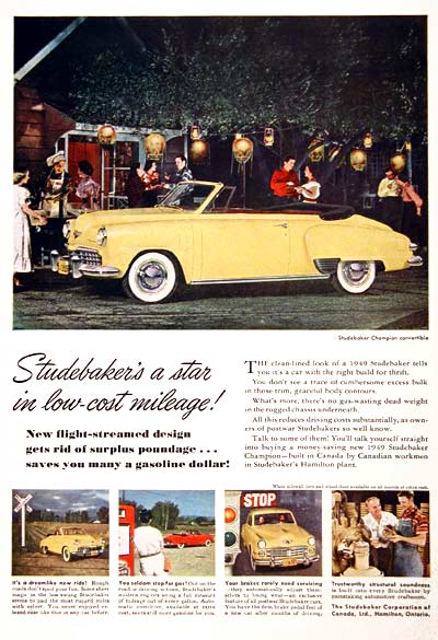 1949 Studebaker Champion Convertible Vintage Ad #001559