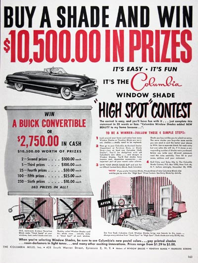 1950 Columbia Window Shade Contest #023712
