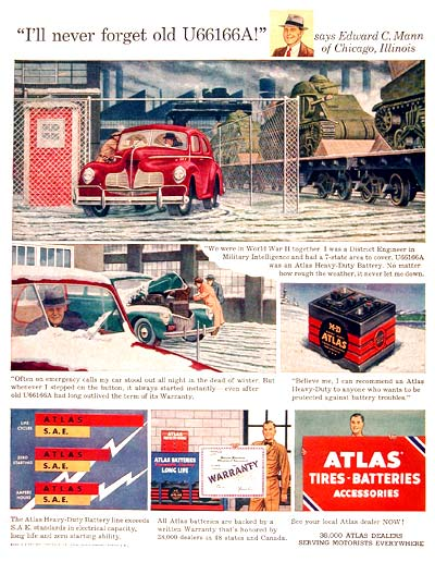 1951 Atlas Car Battery #003697