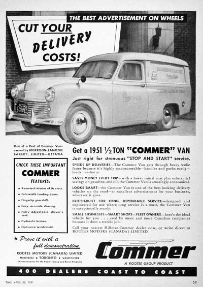 1951 Commer Delivery Vintage Ad #000702