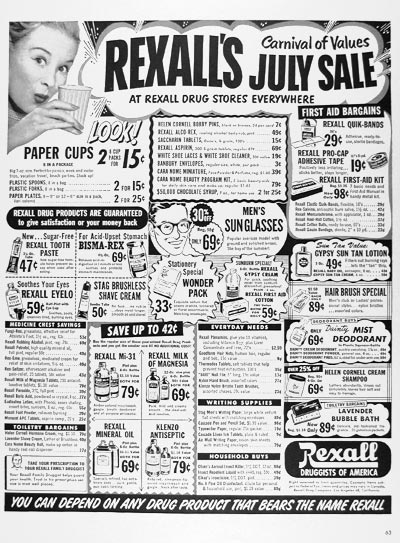 1951 Rexall Drug Store Sale #024488