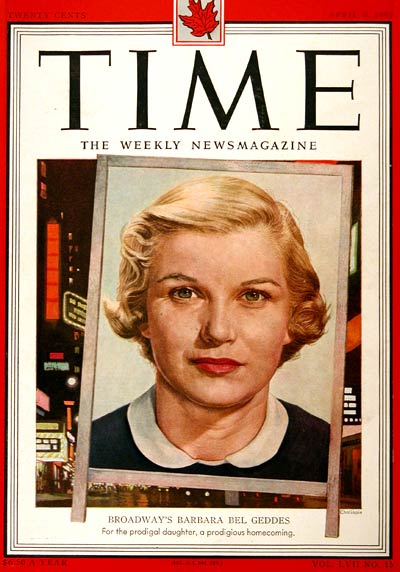 1951 Time Cover - Barbara Bel Geddes