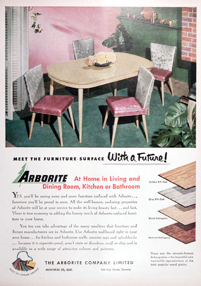 1952 Arborite Furniture Vintage Ad #025317