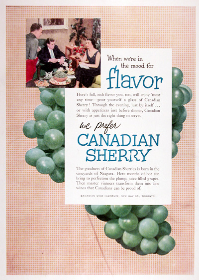 1952 Canadian Sherry Vintage Ad #025296