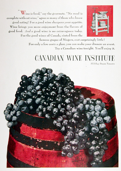 1952 Canadian Wine Institute Vintage Ad #025306