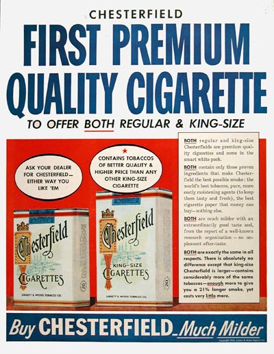 1952 Chesterfield Cigarettes #004071