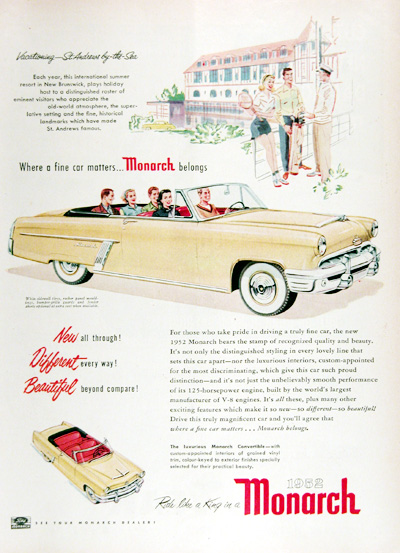 1952 Ford Monarch Convertible Vintage Ad #025291