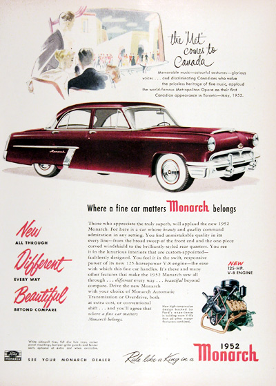 1952 Ford Monarch Sedan Vintage Ad #025326