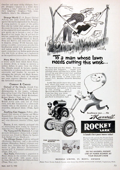 1952 Maxwell Rocket Power Mower Vintage Ad