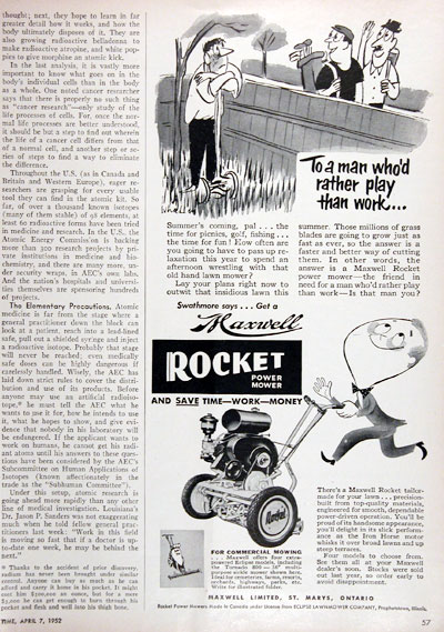 1952 Maxwell Power Mower Ad