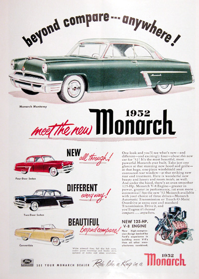 1952 Ford Monarch Monterey Coupe Vintage Ad #025325