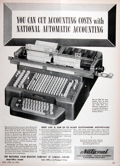 1952 National Machines Vintage Ad #025315