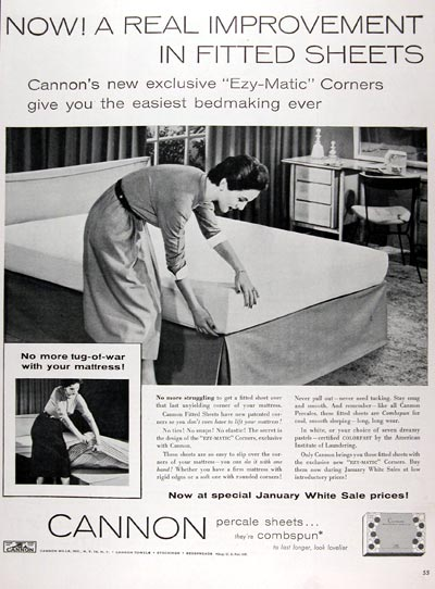 1955 Cannon Percale Sheets #009630