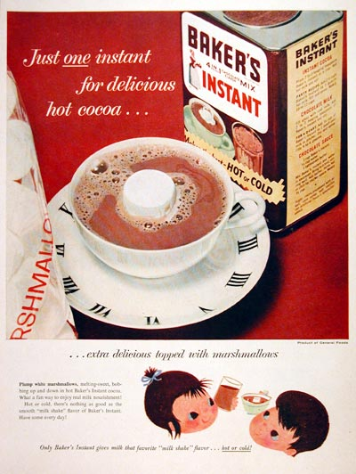 1956 Baker's Instant Cocoa #006950