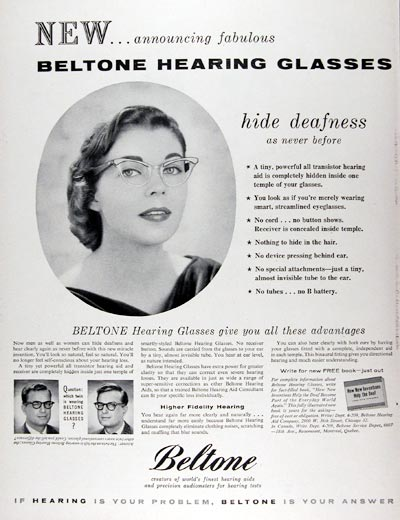 1956 Beltone Hearing Glasses #024681
