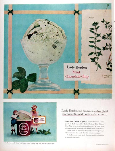 1956 Lady Borden Mint Chocolate Chip Ice Cream #009367