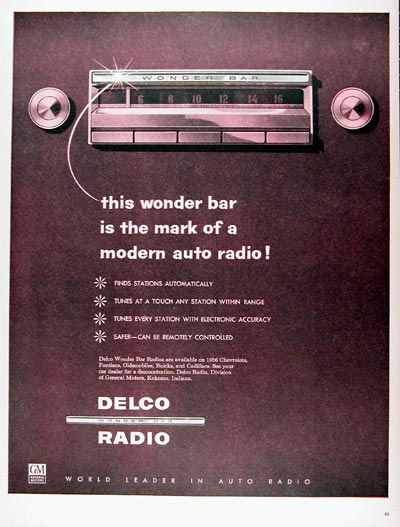 1956 Delco Wonder Bar Radio Vintage Ad #024768