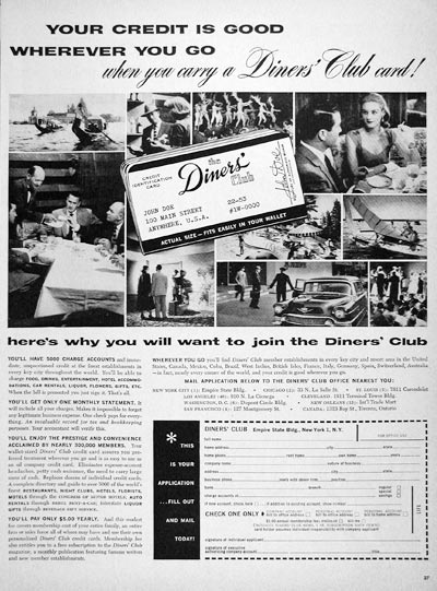 1956 Diners' Club Card #007586