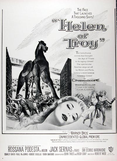 "1956 ""Helen of Troy"" Vintage Movie Ad #024745"
