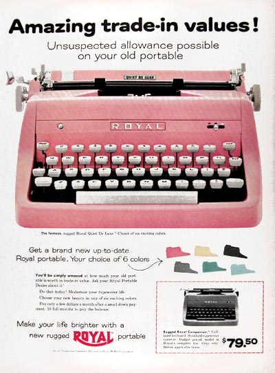 1956 Royal Portable Typewriter #009381