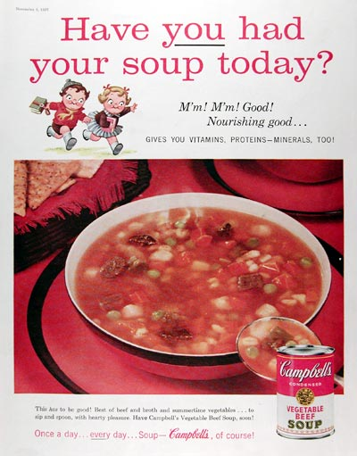 1957 Campbell's Vegetable Beef Soup #014809
